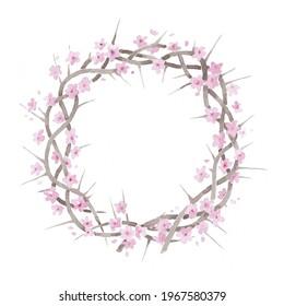 Beautiful elegant watercolor flowering blooming crown of thorns resurrection illustration