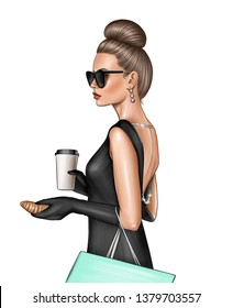 Beautiful elegant woman in black dress looking like Audrey Hepburn in Breakfast at Tiffany's movie. Isolated over white background,holding coffee mug to go, croissant, wearing sunglasses