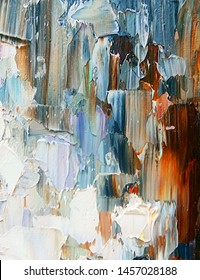 Beautiful embossed textures, oil paints, reliefs created in expressive manner using palette knife technique of oil painting. Primary colors: white, blue, shades of grey and brown.