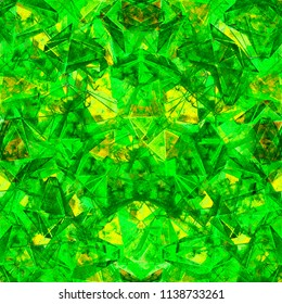 Beautiful emerald green kaleidoscope seamless illustration. Textured hand drawn pattern for your design.