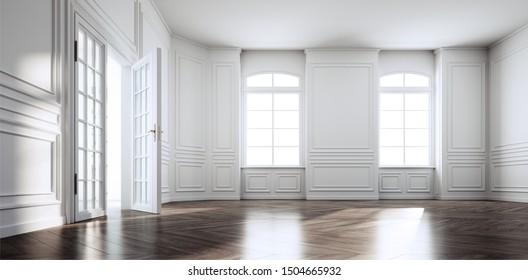 Beautiful empty art nouveau apartment - 3D illustration