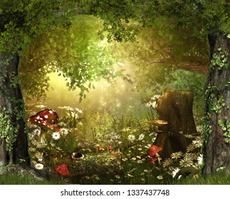 Beautiful enchanting fairy tale lush woodland, 3d render