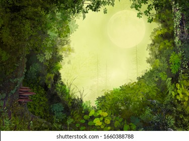 Beautiful enchanting fairy tale lush forest opening in the moonlight, 3d render.