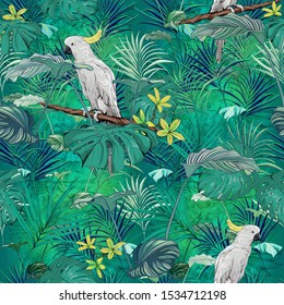 A beautiful and energetic tropical pattern. Parrots in jungle. Exotic foliage. Vivid green. Seamless pattern design.
