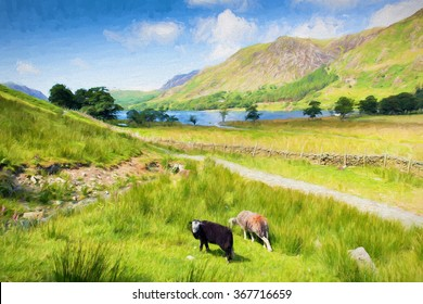 Beautiful English countryside scene Buttermere Lake District Cumbria England uk on a beautiful sunny summer day with Herdwick sheep illustration like oil painting