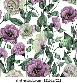 Beautiful eustoma flowers (lisianthus) with leaves and closed buds on white background. Seamless floral pattern.  Watercolor painting. Hand painted botanical illustration. Wallpaper, textile design.