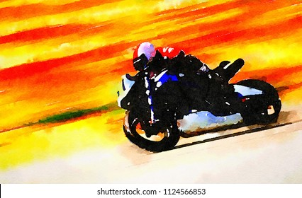 A Beautiful Exiciting Original Watercolor Painting of a Motorctcle Racer