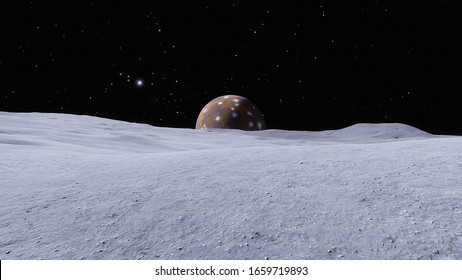beautiful exo planet in space and surface against the background of stars and galaxies in bright colors, space fantasy, space background 3d render