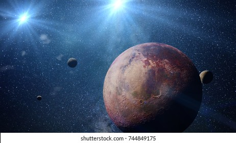 beautiful exoplanet with exo-moons orbiting an alien binary star system (3d space illustration, elements of this image are furnished by NASA)