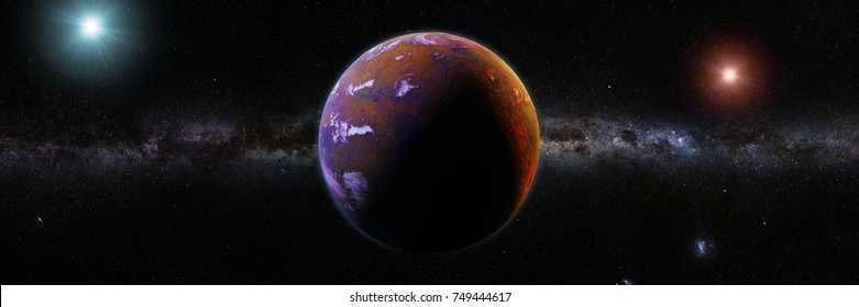 beautiful exoplanet orbiting an alien binary star system (3d space illustration banner)