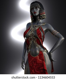 A beautiful exotic woman with metallic black skin - 3D render.