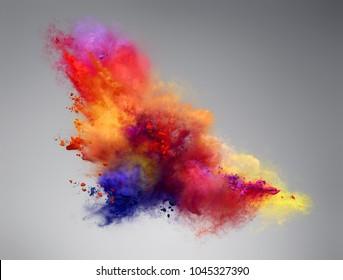Beautiful explosion of color powder. Freeze motion of powder exploding. Illustration