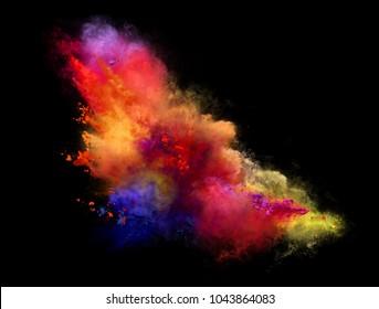 Beautiful explosion of color powder on black background. Illustration
