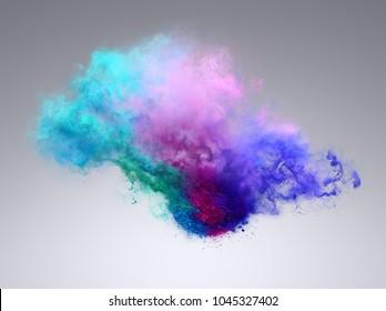 Beautiful explosion of powder. Freeze motion of color powder exploding. Illustration