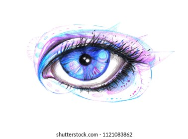 Beautiful eye drawn by hand. Handmade illustration with human eye. Color pencil work.