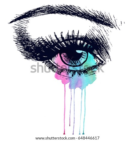 Beautiful Eye With Watercolor Splash Hand Drawn Fashion Illustration Stylish Design For Your Invitation Jpg 450x470