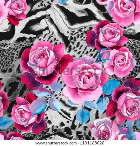 25f304af16a Seamless floral pattern for fabric or linens print. Roses on tiger