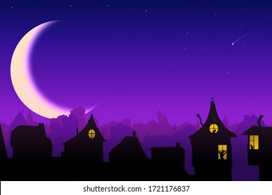 beautiful fabulous roofs of houses and silhouettes in the windows against the backdrop of a big month with stars in the night sky
