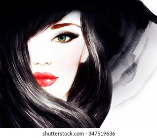 Beautiful face. woman portrait with hat. watercolor painting .fashion background