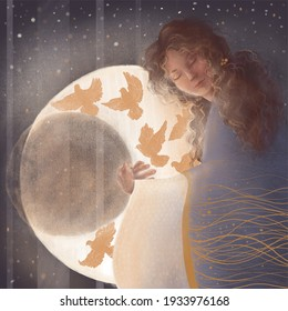 beautiful fairy girl hugs the moon