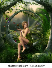 Beautiful fairy girl with wings playing with butterflies in an enchanting fantasy forest , 3d render painting