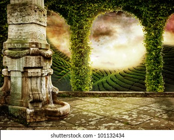 Beautiful Fairy tale Background with View of mystic Landscape