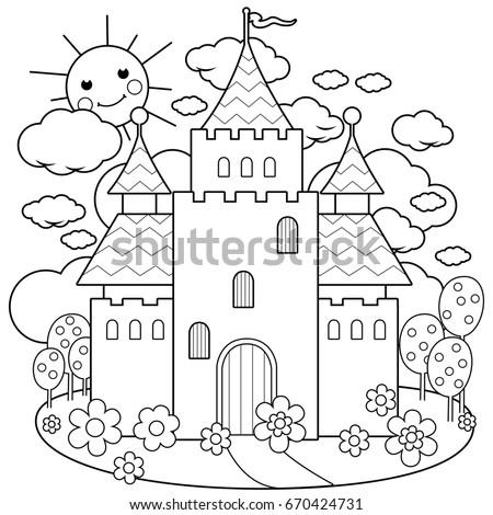 Royalty Free Stock Illustration Of Beautiful Fairy Tale Castle Black
