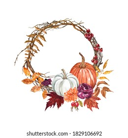 Beautiful fall wreath with watercolor pumpkins, tree branches, fall leaves, colorful foliage, berries. Holiday decorative frame, Thanksgiving card design in rustic style. Hand drawn illustration.