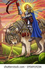 A beautiful female knight with a huge lance and curly hair sits astride a huge armored wolf, which looks curiously at the viewer. The background of a beautiful fantasy kingdom. 2d illustration