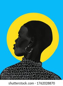 Beautiful female profile. Fashion illustration. black girl, dark skin. woman in vogue style. paint texture. African appearance. Yellow circle. Blue background