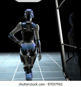 Beautiful female Robot walking down the dark hall way of the science lab inside an new technology industrial complex. Illustration