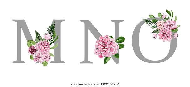 Beautiful festive silver alphabet with watercolor flowers, wedding letters, decorative font