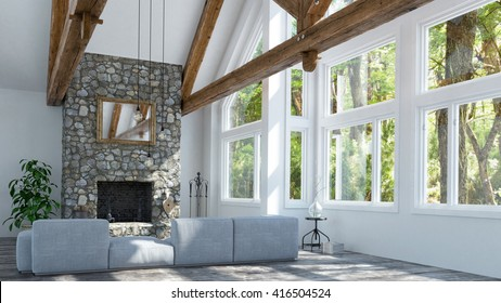 Beautiful fireplace in modern cottage - 3 d render