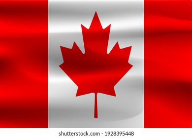 A beautiful flag of Canada. Beautiful wrinkles of flying flag fabric.