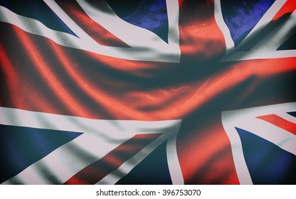 Beautiful flag of the UK waving in the wind