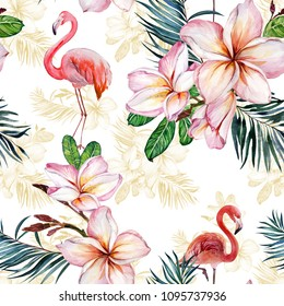 Beautiful flamingo and plumeria flowers on white background. Exotic tropical seamless pattern. Watecolor painting. Hand painted illustration. Wallpaper, fabric design.