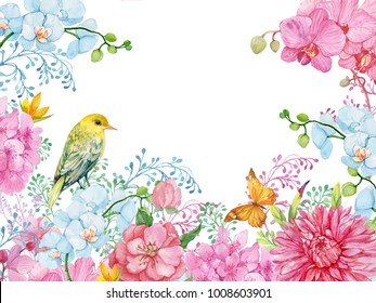 beautiful floral background for greeting cards ,design paper,textiles .illustration of watercolor .bird Oriole flowers orchids butterflies isolated on white background