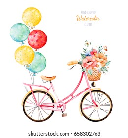 Beautiful floral collection. Bike with bouquet in basket and multicolored balloons.Lovely illustration for your design.Perfect for wedding,invitations,blogs,template card,Birthday,baby cards,patterns