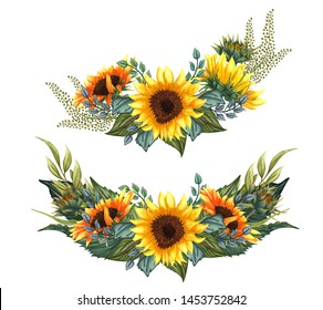 Beautiful floral collection with sunflowers bouquet, leaves, branches, fern leaves. Bright watercolor sunflowers composition set. wedding, invitation, template card, Birthday.