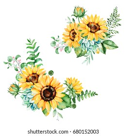 Beautiful floral collection with sunflowers,leaves,branches,fern leaves,feathers.2 bright watercolor bouquets for your design.Perfect for wedding,invitation,template card,Birthday and boho style