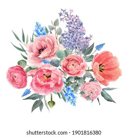 Beautiful floral composition with watercolor gentle red summer flowers. Stock bouquet illustration.