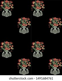 beautiful floral geomatrical embroidery design