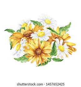 Beautiful floral hand drawn watercolor bouquet illustration, bunch of yellow flowers, with daisies and sunflowers on white isolated background. Can be used for invitations or wedding design.
