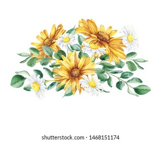 Beautiful floral hand drawn watercolor bouquet illustration, bunch of yellow flowers with daisies and eucalyptus isolated on white background. Can be used for invitations or wedding design.