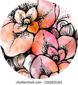 Beautiful floral hand painted composition, watercolor and graphic