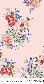 Beautiful Floral pattern in the many kind of flowers. Botanical Motifs scattered random