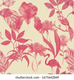 Beautiful floral pattern with pink flamingos, blossom flowers, birds and plants on beige background. All are a digital illustration.