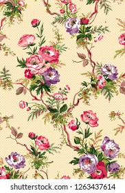 beautiful floral repeat design for textile and digital print