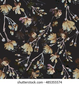 Beautiful floral seamless pattern  of flowering branches on a black background - V