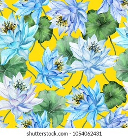 Beautiful floral seamless pattern. Large blue lotus flowers with green leaves on yellow background. Hand drawn illustration. Watercolor painting. Design of textile or wallpaper.